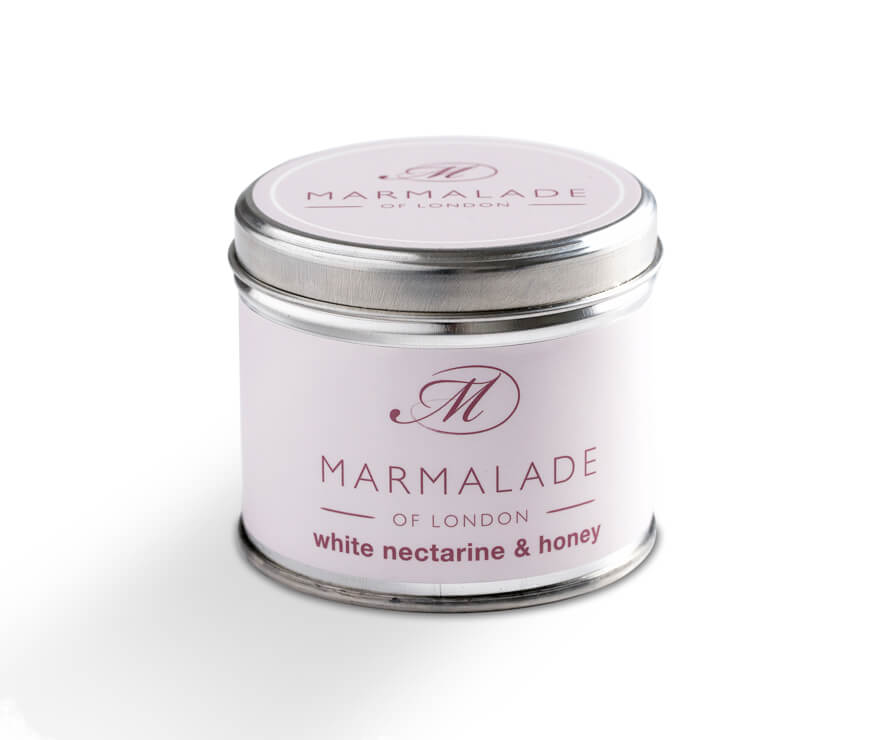 White Nectarine and Honey Medium Tin Candle
